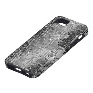 Metallic Silver Sequins Look Disco Mirrors Bling iPhone 5 Cases
