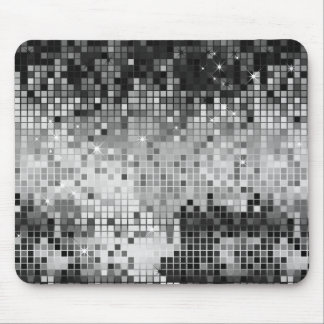 Metallic Silver Sequins Look Disco Mirrors Bling Mouse Mat