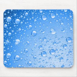Metallic Sky Blue Rain Drops Mouse Pads