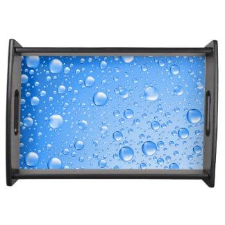 Metallic Sky Blue Rain Drops Serving Tray
