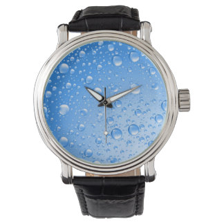Metallic Sky Blue Rain Drops Watch