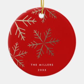 Metallic snowflake faux foil ornament