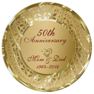 Metallic Sparkling Gold 50th Anniversary Plate