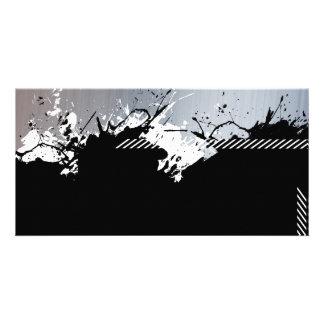 Metallic Splatter Background Customized Photo Card