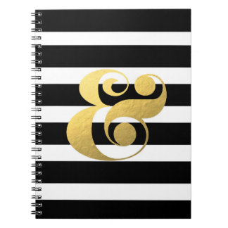 Metallic & Stripes Ampersand Notebook