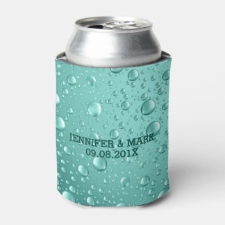 Metallic Teal-Green Abstract Rain Drops Can Cooler