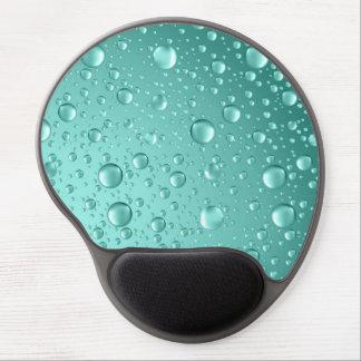 Metallic Teal-Green Abstract Rain Drops Gel Mouse Pad