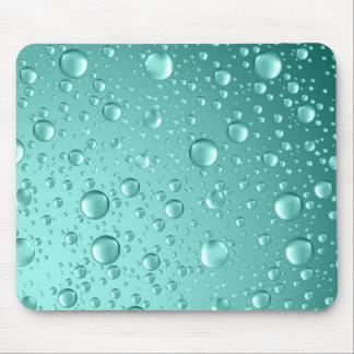 Metallic Teal-Green Abstract Rain Drops Mouse Mat