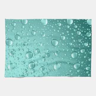 Metallic Teal-Green Abstract Rain Drops Tea Towel