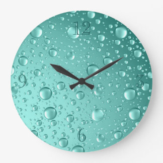 Metallic Teal- Green Rain Drops Large Clock