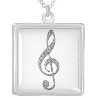 Metallic Treble Clef  Necklace