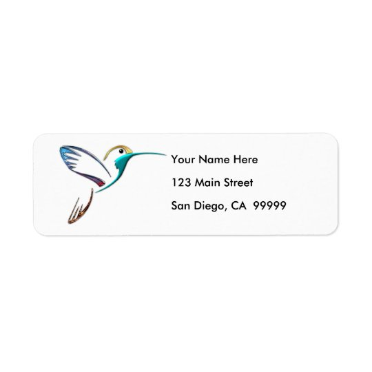 Metallic Tropical Hummingbird Return Address Label
