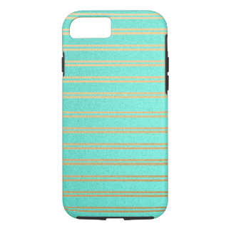 Metallic Turquoise and Gold Shimmer Stripes iPhone 8/7 Case