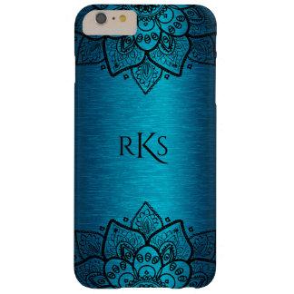 Metallic Turquoise-Blue & Black Lace Mandala Barely There iPhone 6 Plus Case