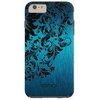 Metallic Turquoise Brushed Aluminium Black Lace 2 Tough iPhone 6 Plus Case