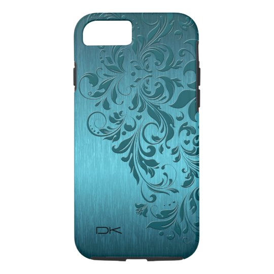 Metallic Turquoise Brushed Aluminium & Floral Lace iPhone