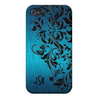 Metallic Turquoise Brushed Aluminum Black Lace 2 iPhone 4 Covers