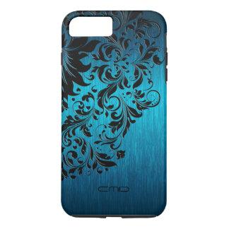 Metallic Turquoise Brushed Aluminum Black Lace 2 iPhone 7 Plus Case