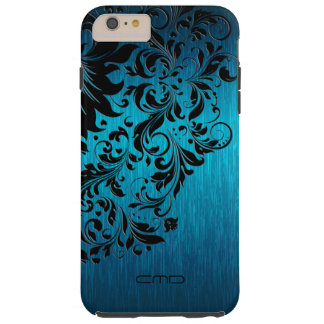 Metallic Turquoise Brushed Aluminum Black Lace 2 Tough iPhone 6 Plus Case
