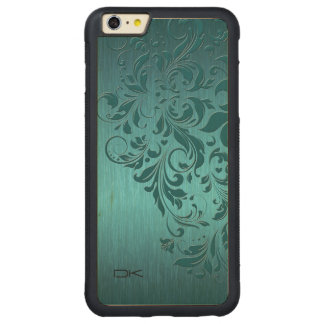 Metallic Turquoise Brushed Aluminum & Floral Lace Carved® Maple iPhone 6 Plus Bumper Case