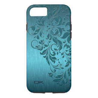 Metallic Turquoise Brushed Aluminum & Floral Lace iPhone 7 Case