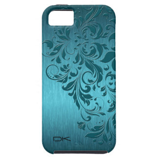 Metallic Turquoise Brushed Aluminum & Floral Lace Tough iPhone 5 Case