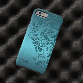 Metallic Turquoise Brushed Aluminum & Floral Lace Tough iPhone 6 Case