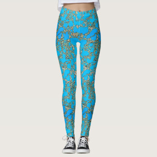 Metallic Turquoise Design Leggings
