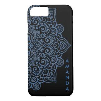 METALLIC Vintage BLUE Intricate Lace Mandala black iPhone 8/7 Case