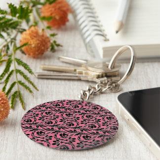 Metallic Waves, Lt Pink-Black-Keychain