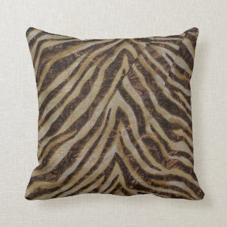 Metallic Zebra Animal Print bronze gold copper tan Cushion