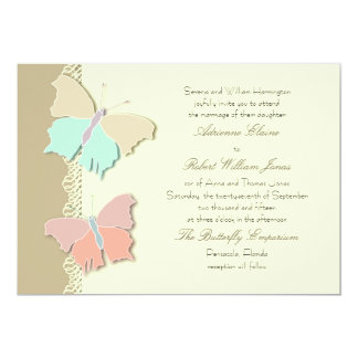 Metamorphosis Artistic Butterfly Wedding  Design 13 Cm X 18 Cm Invitation Card