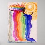 Metamorphosis Rainbow Woman Watercolor Painting Poster