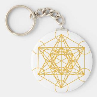Metatron Cube Gold Basic Round Button Key Ring