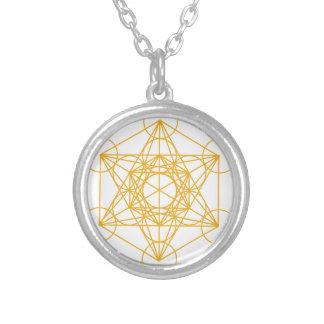 Metatron Cube Gold Round Pendant Necklace