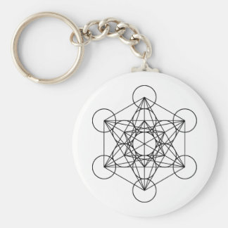 Metatron Cube Sacred Geometry Basic Round Button Key Ring
