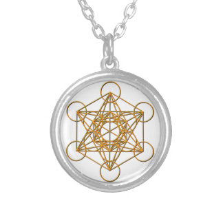 Metatron Drop Shadow Round Pendant Necklace