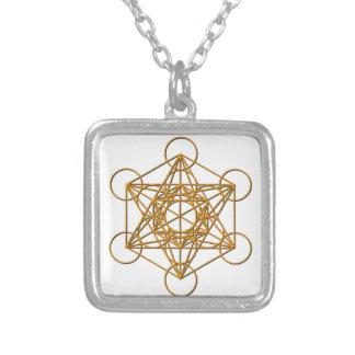 Metatron Drop Shadow Square Pendant Necklace