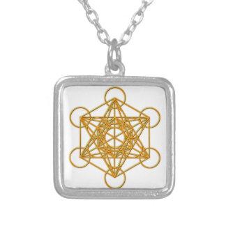 Metatron Gold Glow Square Pendant Necklace