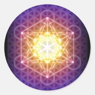 Metatron s Cube Flower of Life Sticker - Round