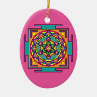 Metatron's Cube Mandala Ceramic Oval Decoration