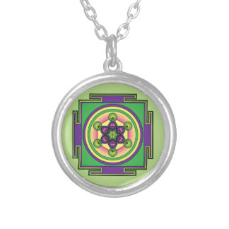 Metatron's Cube Mandala Silver Plated Necklace