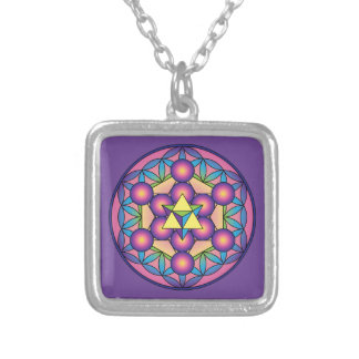 Metatron's Cube Merkaba on Flower of life Silver Plated Necklace