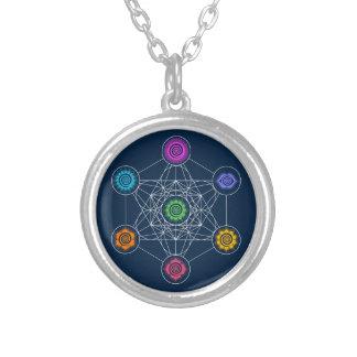 Metatrons Cube, Chakras, Cosmic Energy Centers Round Pendant Necklace