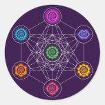 Metatrons Cube, Chakras, Cosmic Energy Centres Round Sticker