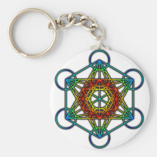 Metatron's Cube (Color 1) Basic Round Button Key Ring