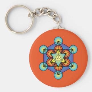 Metatron's Cube Merkaba Basic Round Button Key Ring
