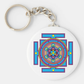 Metatron's Cube Merkaba Mandala Basic Round Button Key Ring