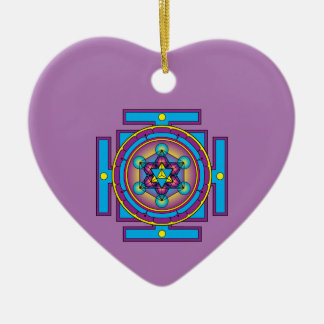 Metatron's Cube Merkaba Mandala Ceramic Heart Decoration