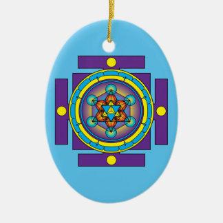 Metatron's Cube Merkaba Mandala Ceramic Oval Decoration